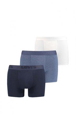 Трусы Men Premium Boxer B Levis. Цвет: синий, голубой, белый