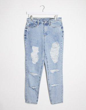 Голубые прямые джинсы с состаренной отделкой Blank NYC-Голубой NYC