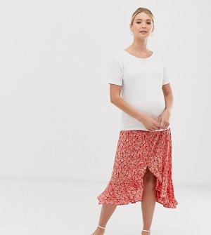 Красная юбка миди на пуговицах с цветочным принтом и оборками -Красный New Look Maternity