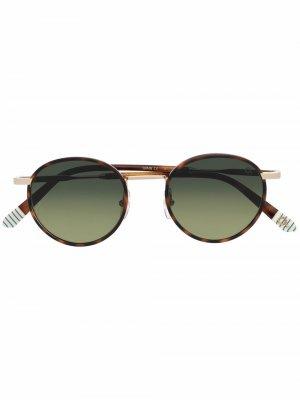 Солнцезащитные очки в круглой оправе Etnia Barcelona. Цвет: коричневый