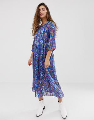 Платье миди с цветочным принтом Reese BA&SH. Цвет: мульти