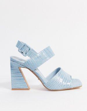 Голубые босоножки на каблуке -Синий Topshop