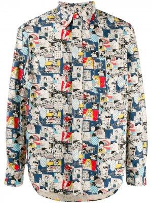 Рубашка Revised Camp Gitman Vintage. Цвет: синий