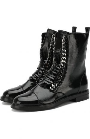 Кожаные байкеры на шнуровке Casadei. Цвет: черный