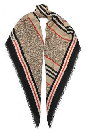 Платок из смеси шерсти и шелка Burberry. Цвет: бежевый