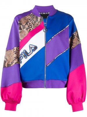 Спортивная куртка со вставками и логотипом Fila. Цвет: синий