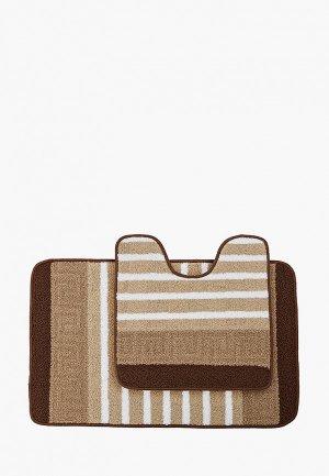 Комплект ковриков Эго Kamalak, 50х80 см., 50х50 см. Цвет: коричневый