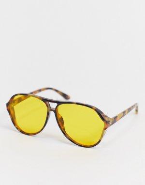 Солнцезащитные очки в стиле 80-х крупной оправе «навигатор» с черепаховым принтом и желтыми линзами -Коричневый цвет ASOS DESIGN
