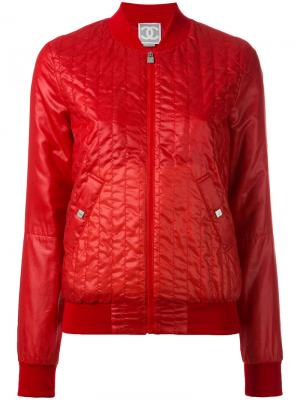 Стеганая куртка-бомбер Chanel Vintage. Цвет: красный