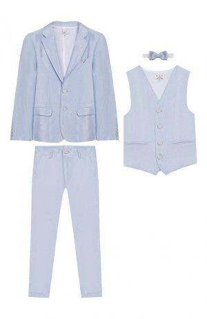 Комплект из пиджака с брюками и жилета бабочкой Aletta. Цвет: синий