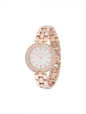 Наручные часы Milano с круглым корпусом и кристаллами Furla. Цвет: розовый