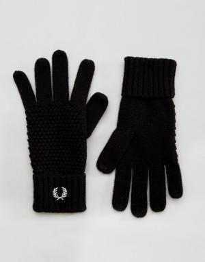 Перчатки из овечьей шерсти Fred Perry. Цвет: черный