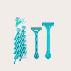 12шт Одноразовый ручной нож для бритья волос SHEIN. Цвет: нежно-голубой