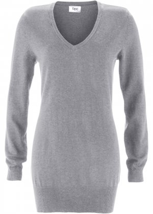 Длинный пуловер тонкой вязки bonprix. Цвет: серый
