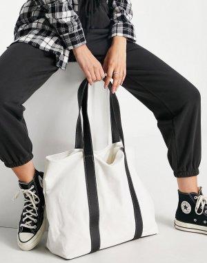 Кремовая парусиновая сумка-тоут с ручками из искусственной кожи -Белый ASOS DESIGN