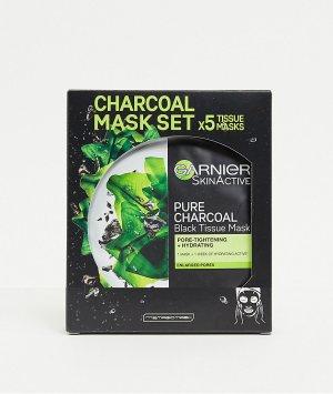 5 очищающих, увлажняющих и сужающих поры масок-салфеток для лица с активированным углем водорослями -Бесцветный Garnier