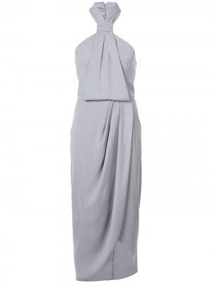 Драпированное платье с вырезом-халтер Shona Joy. Цвет: серый