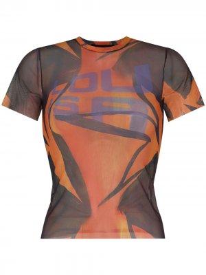 Прозрачная футболка с графичным принтом Louisa Ballou. Цвет: оранжевый