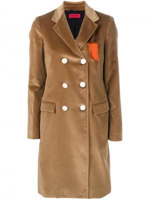 Двубортное пальто The Gigi. Цвет: нейтральные цвета