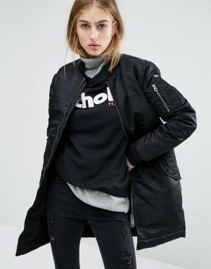 Удлиненная куртка‑пилот Schott. Цвет: черный