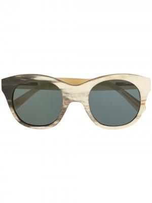 Солнцезащитные очки в круглой оправе Rigards. Цвет: белый