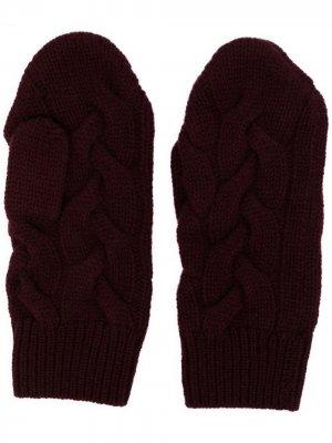 Кашемировые перчатки-митенки фактурной вязки N.Peal. Цвет: красный