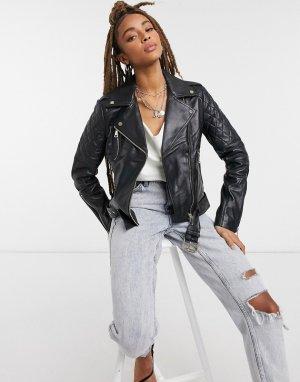 Кожаная байкерская куртка черного цвета Lab Leather-Черный LEATHER