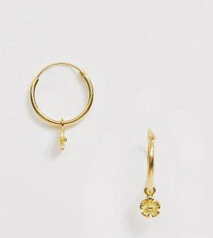 Серьги-кольца из позолоченного серебра с подвеской-цветком -Золотой ASOS DESIGN