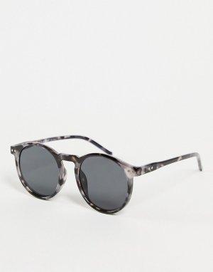 Солнцезащитные очки в круглой серой черепаховой оправе стиле унисекс Pause-Серый AJ Morgan