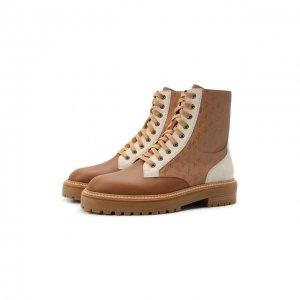 Кожаные ботинки Cora Jimmy Choo. Цвет: бежевый