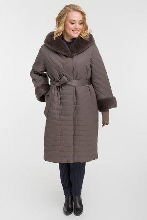 Пальто для больших размеров утепленное верблюжьей шерстью Garioldi. Цвет: серый