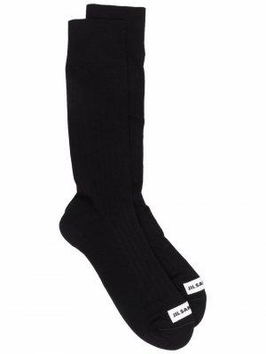 Носки с нашивкой-логотипом Jil Sander. Цвет: черный