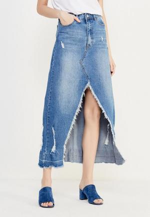 Юбка джинсовая Modis MO044EWVRY29. Цвет: синий