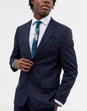 Набор из узкого галстука и платка для нагрудного кармана с цветочным принтом -Синий ASOS DESIGN