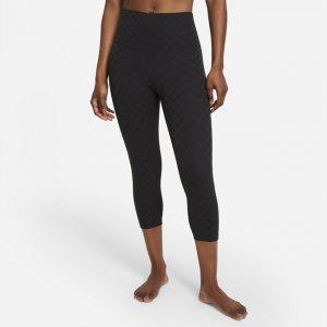 Женские капри из жаккардового материала с высокой посадкой Yoga Luxe - Черный Nike