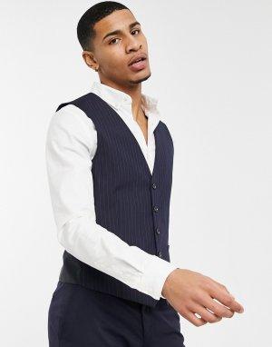 Темно-синий жилет в тонкую полоску Burton Menswear