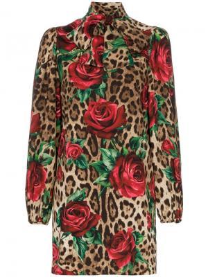 Платье мини с леопардовым принтом Dolce & Gabbana. Цвет: коричневый