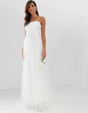 Свадебное ярусное сетчатое платье с кружевом -Белый ASOS EDITION