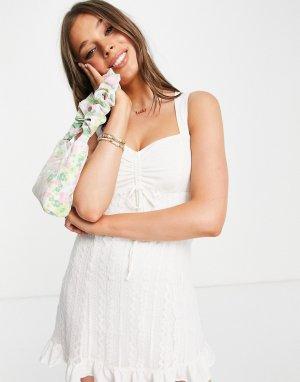 Белое платье мини с завязкой на талии -Белый Gilli