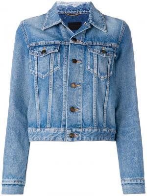 Классическая джинсовая куртка Saint Laurent. Цвет: синий