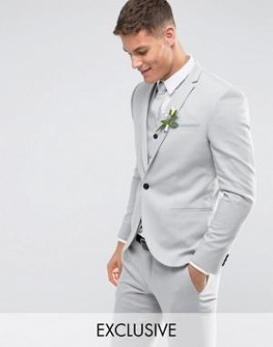 Светло-серый свадебный пиджак скинни Noak