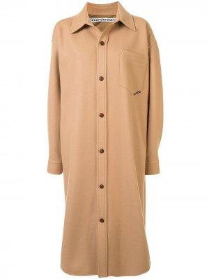 Пальто-рубашка оверсайз Alexander Wang. Цвет: коричневый