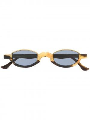 Двухцветные солнцезащитные очки Ziggy Chen. Цвет: золотистый