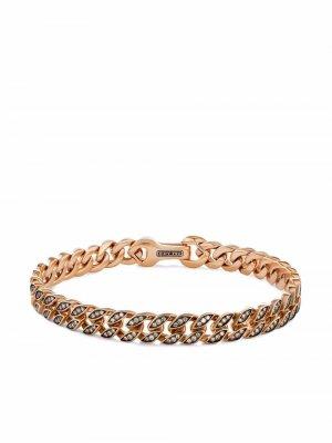 Браслет из розового золота с бриллиантами David Yurman. Цвет: розовый