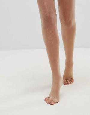 Бежевые колготки плотностью 8 ден с дизайном под сандалии ASOS DESIGN. Цвет: бежевый