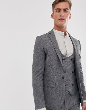Серый приталенный пиджак River Island