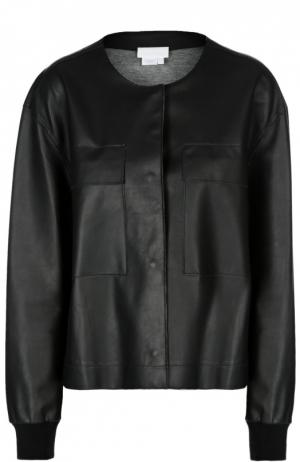 Кожаная куртка с круглым вырезом и манжетами DKNY. Цвет: черный