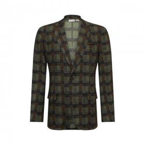 Льняной пиджак Dries Van Noten. Цвет: хаки