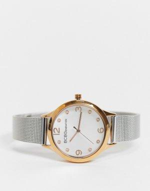 Часы с сетчатым ремешком BCBG Generation-Серебристый MaxAzria