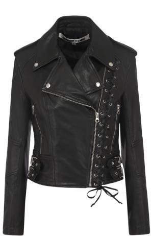 Кожаная куртка с косой молнией MCQ. Цвет: черный